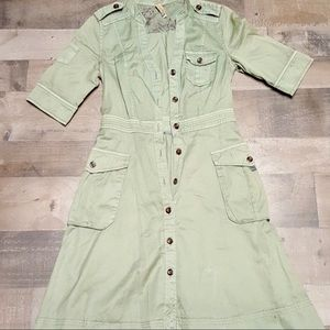 Anthropologie Khaki button down dress